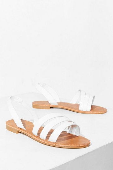 White Strappy Thoughts Wide Fit Flat Sandals