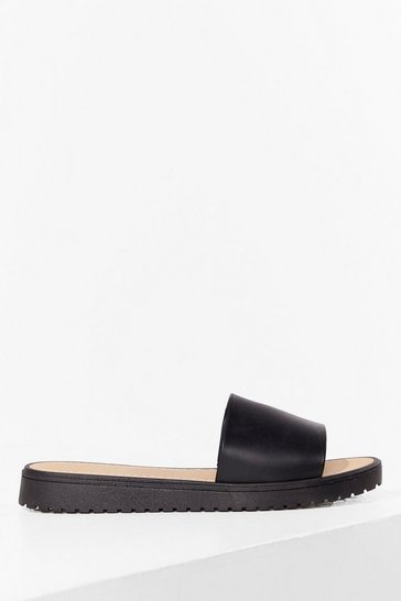 Black Who's Slide Are You On Faux Leather Sandals