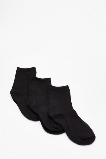Black One Foot Forward 3-Pc Ankle Socks