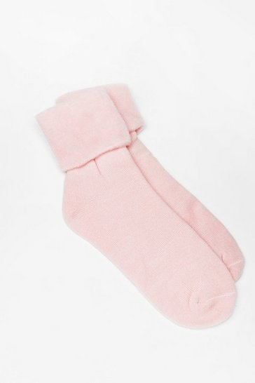Pink Sock In Soft Knit Bed Socks