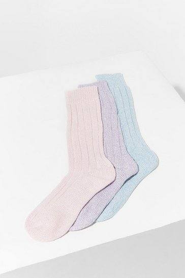 Pastel pink Long Length Marl Knitted 3 PK Socks