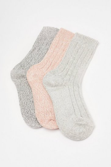 Grey Marl Knitted 3 PK Socks