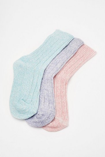 Pastel pink Marl Knitted 3 PK Socks