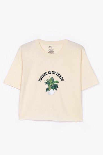 Nature Is My Graphic Crop Tee, Sand