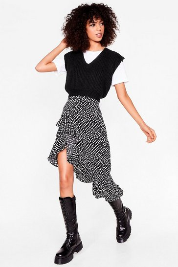 Black abstract spot ruffle midi skirt