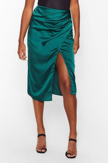 Green wrapover side midi skirt