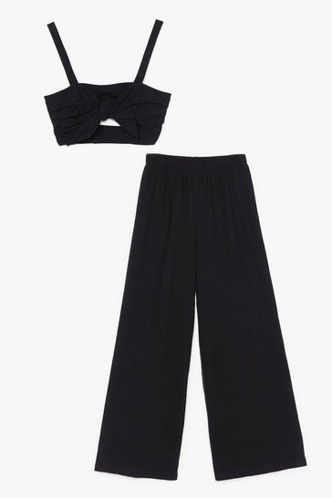 Black Love is All We Need Crop Top and Wide-Leg Pants Set