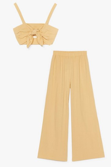 Sand Love is All We Need Crop Top and Wide-Leg Pants Set