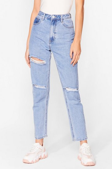 Blue Wash Us Work It Distressed Mom Jeans