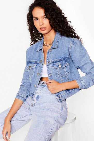 Blue We See What You Jean Cropped Denim Jacket