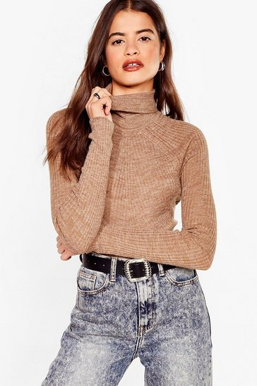 Camel Roll With It Ribbed Turtleneck Sweater