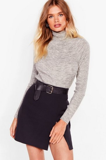 Grey Roll With It Ribbed Turtleneck Sweater