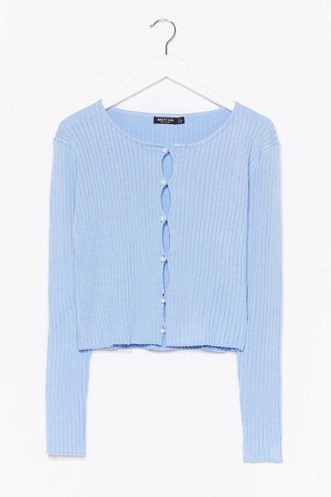 Ice blue Give Us a Pearl Ribbed Knit Cardigan