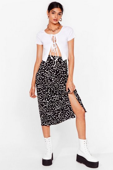 Black smudge animal midi skirt