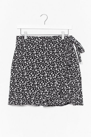 Black Grow Above and Beyond Wrap Mini Skirt