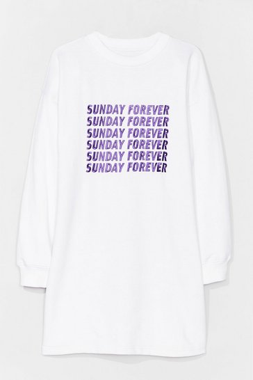 Robe sweat ample à broderies Sunday Forever, White
