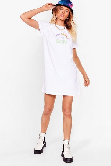 White Oh Here Comes the Sun Graphic Tee Dress