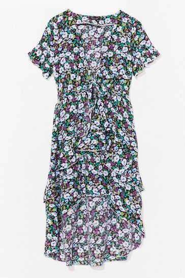 Black vibrant floral tie front midi tea dress