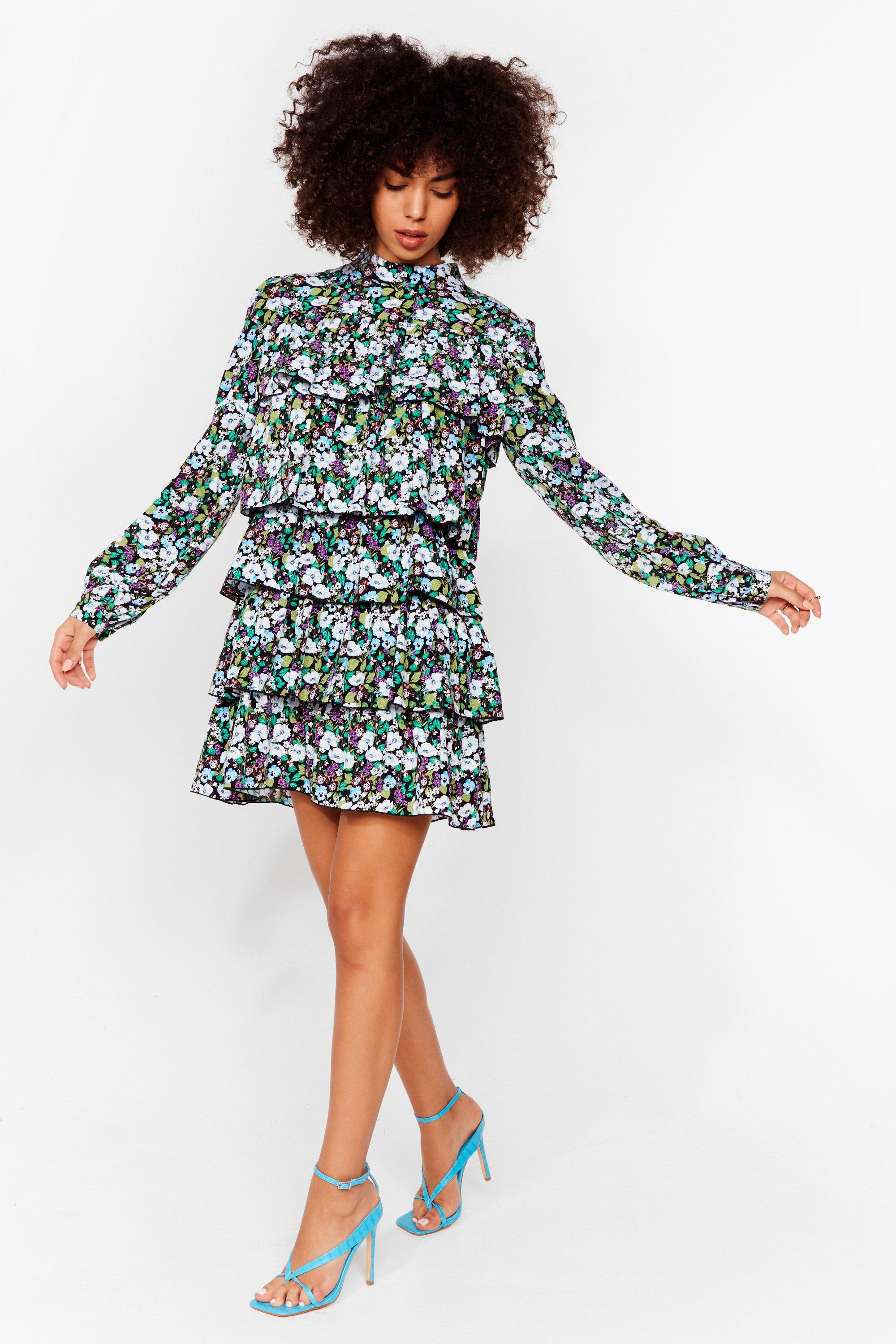 Always Tier For You Floral Mini Dress