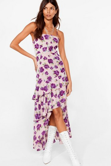 Mauve Waterfall-en For You Floral Halter Dress