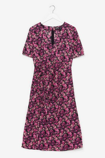 Black punchy floral wrap midi dress