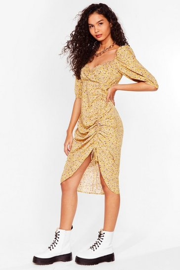 Yellow I'm Mrs Brightside Floral Midi Dress