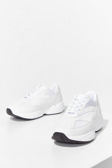 White Run to You Faux Leather Chunky Sneakers