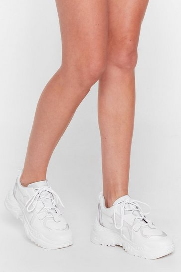 White Mix It Up Faux Leather Chunky Trainers