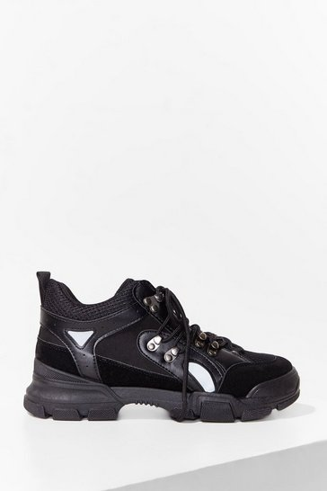 Times Hike These Chunky Lace-Up Sneakers, Black