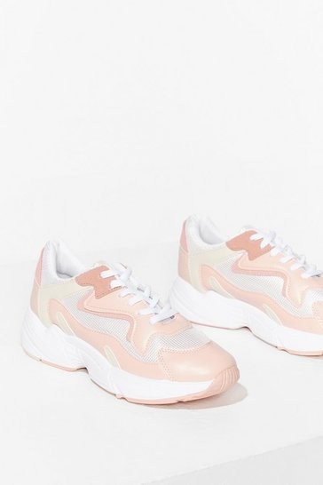 Pink Running Outta Time Chunky Faux Leather Sneakers