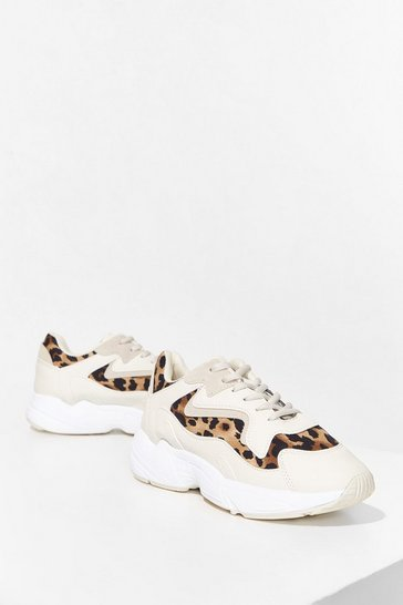 Beige Meowt On the Town Leopard Chunky Trainers