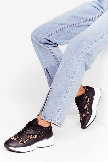 Black Follow My Way Leopard Chunky Sneakers