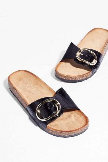 Black Let's Croc Faux Leather Buckle Sliders