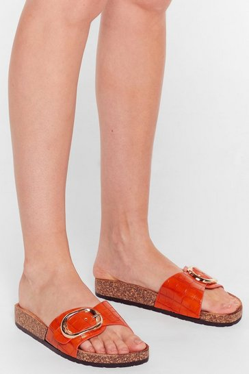 Orange Let's Croc Faux Leather Buckle Sliders
