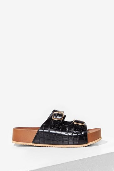 Black DOUBLE BUCKLE FLATFORM FAUX CROC FOOTBED SANDALS