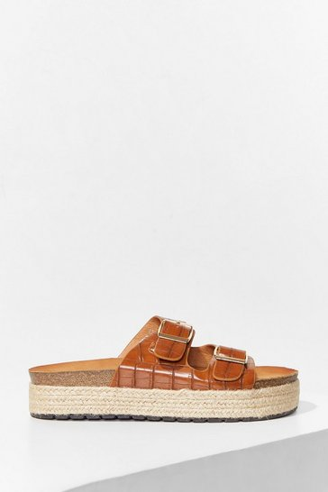 Camel Step on Up Faux Leather Croc Sliders