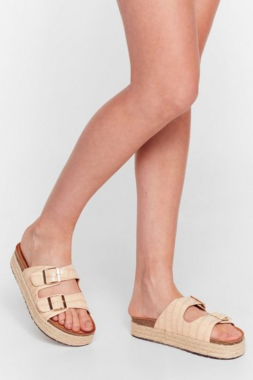 Nude Step on Up Faux Leather Croc Sliders