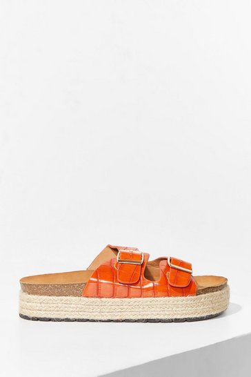 Orange Step on Up Faux Leather Croc Sliders