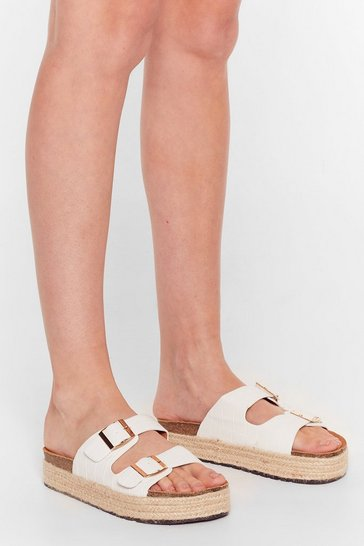 White Step on Up Faux Leather Croc Sliders