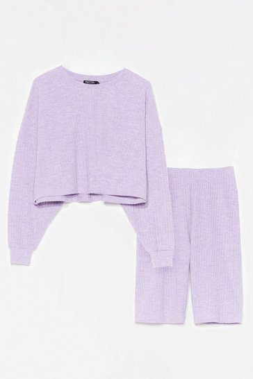 Lilac Always in a Brush Ribbed Biker Shorts Lounge Set