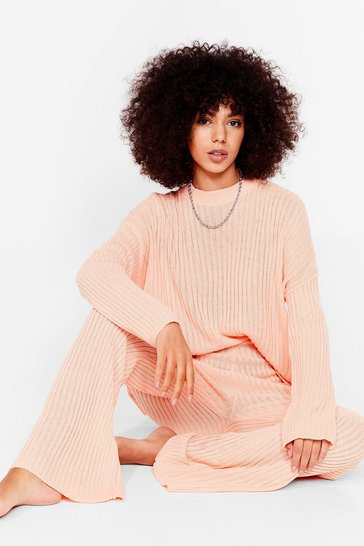 Apricot Ribbed Knit Sweater and Pants Set
