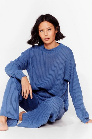 Blue Another Bright Idea Knit Sweater and Pants Set