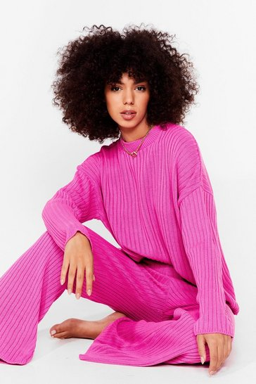 Fushia Another Bright Idea Knit Sweater and Pants Set
