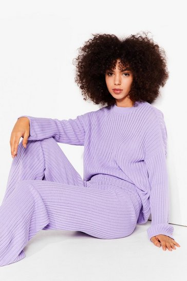 Lavender Another Bright Idea Knit Sweater and Pants Set