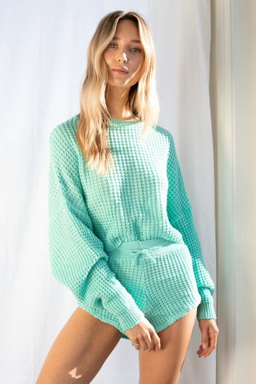 Apple green Knit Pause Sweater and Shorts Lounge Set