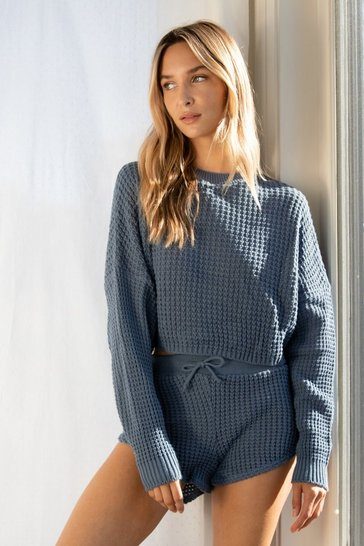 Blue Knit Pause Sweater and Shorts Lounge Set
