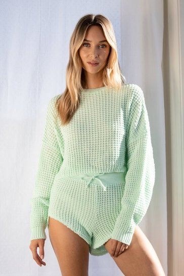 Mint Knit Pause Sweater and Shorts Lounge Set