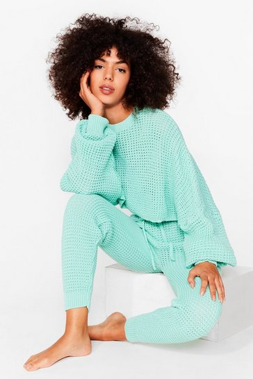 Apple green Knit's Down to You Jumper and Jogger Set