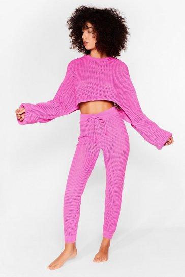 Fushia Knit's Down to You Sweater and Jogger Set