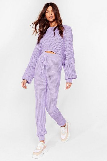 Lavender Knit's Down to You Jumper and Jogger Set